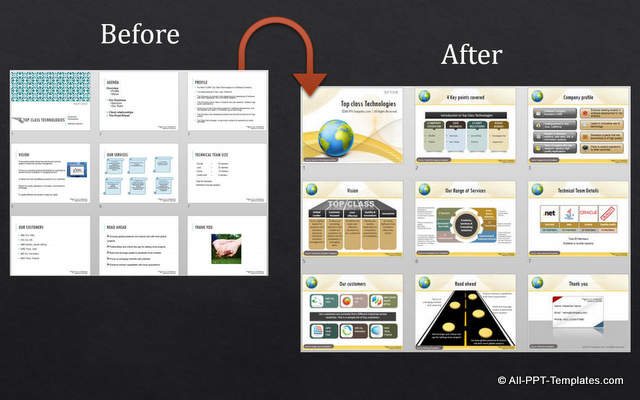 powerpoint corporate presentation : design makeover example, Powerpoint templates
