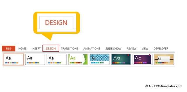 PowerPoint Design Theme Menu