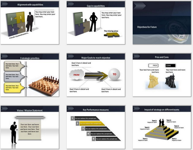 PowerPoint Strategy Direction Charts 02