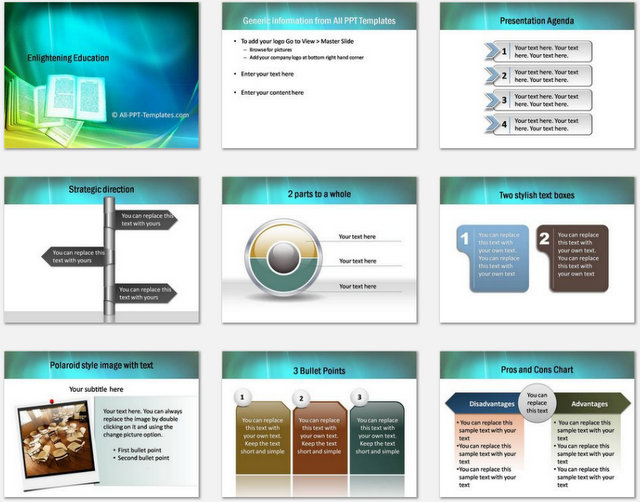 Powerpoint enlightening education template enlightening education pptx charts 1 toneelgroepblik Images