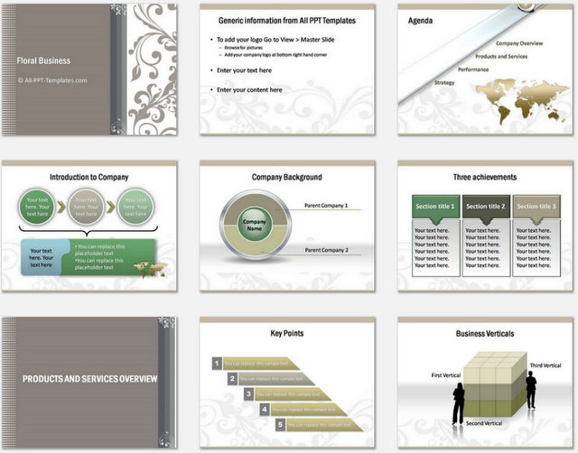 PowerPoint Floral Business Introduction Charts 1