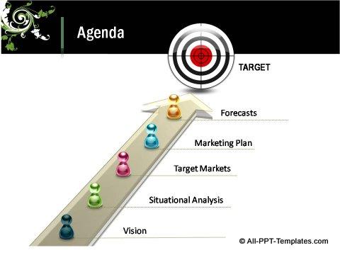Floral Design 3D Target Agenda Slide