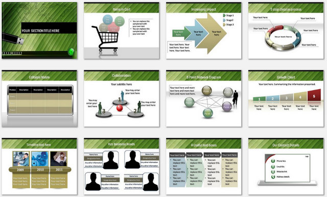 PowerPoint Green Technology Charts 2