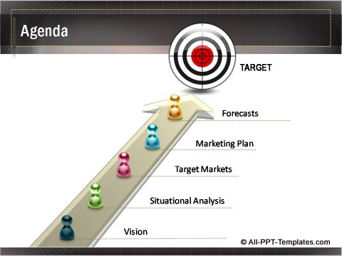 Business Growth 3D Target Agenda Slide
