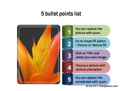 5 bullet points list with numbers on 3D shapes