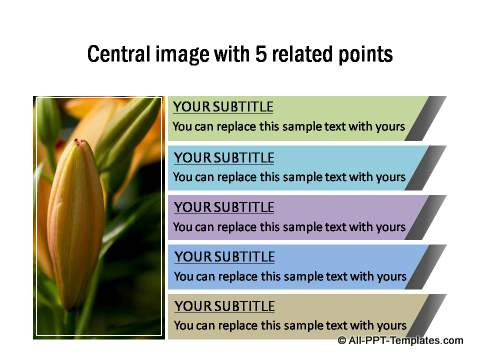 Central image with 5 related points