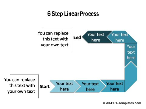 6 step linear PowerPoint flow diagram.