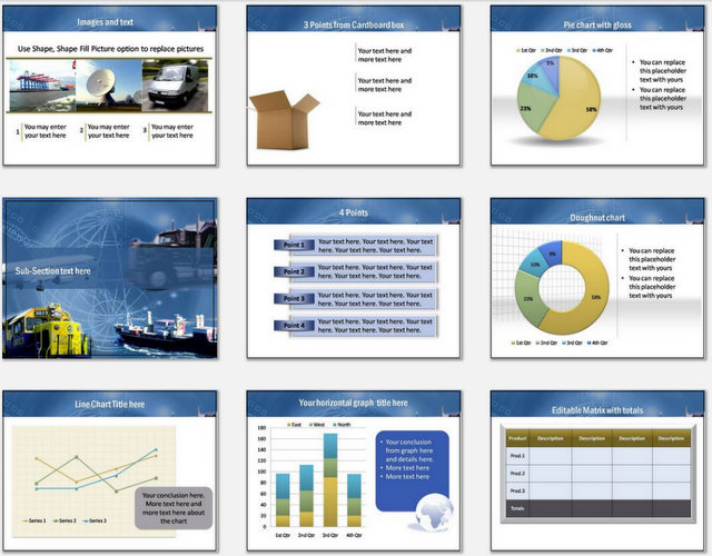 PowerPoint Logistics Modes Charts 02