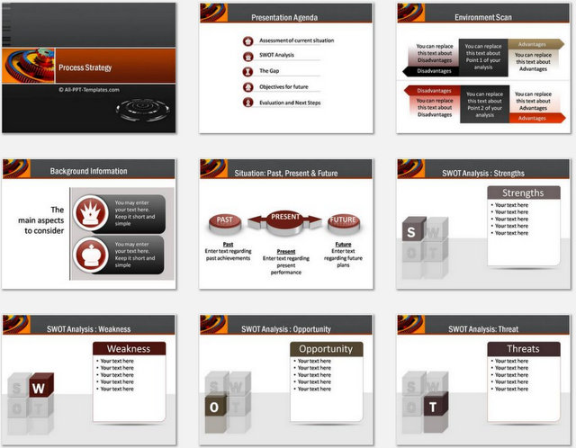 PowerPoint Process Strategy Charts 01