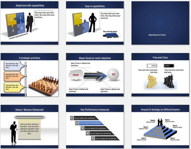PowerPoint Professional Blue Charts 02