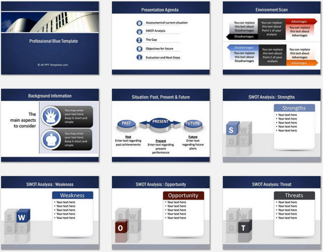 PowerPoint Professional Blue Charts 01