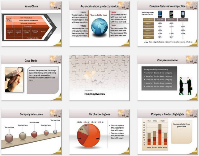 PowerPoint Puzzle Concept  Charts 02