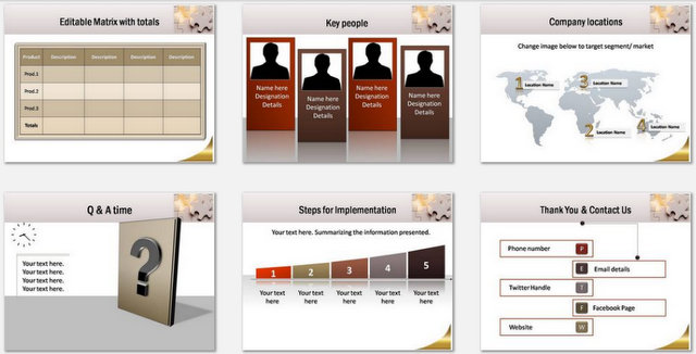 PowerPoint Puzzle Concept  Charts 03