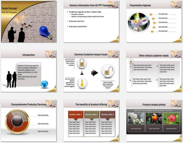 PowerPoint Puzzle Concept  Charts 01