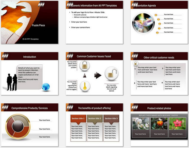 PowerPoint Puzzle Piece Charts 01