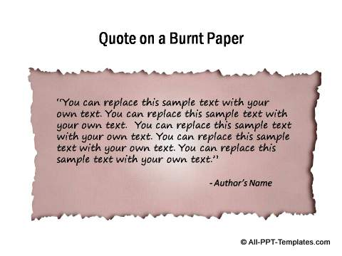 Quote highlighted on burnt paper