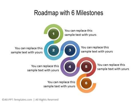 Curvy Roadmap With 6 Milestones