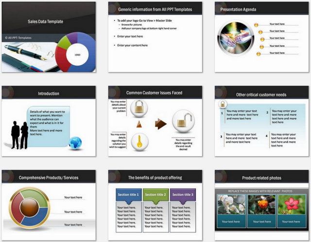 PowerPoint Sales Data Charts 01