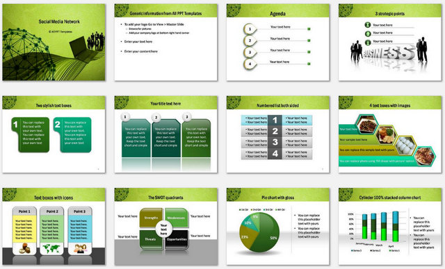 powerpoint social network template, Modern powerpoint