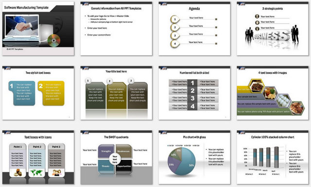 PowerPoint Software Manufacturing Charts 1