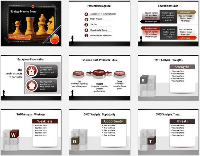 PowerPoint Strategy Drawing Board Charts 01