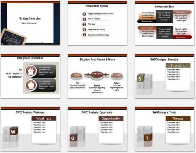 PowerPoint strategy Game Plan Charts 01