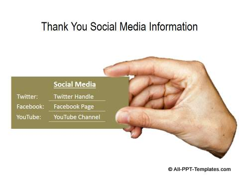 Powerpoint thank you slide templates visiting card with social media information thank you toneelgroepblik Choice Image