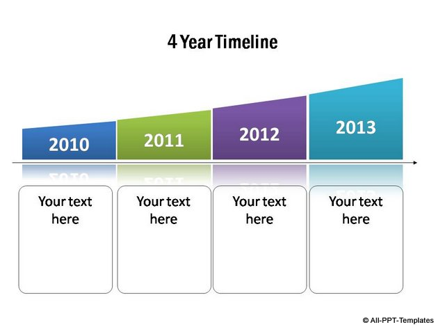 Stylish curved timeline template for 4 years