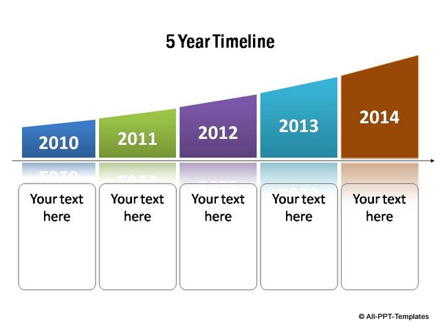 Stylish curved timeline template for 5 years