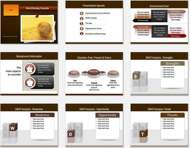 PowerPoint World Strategy Charts 01