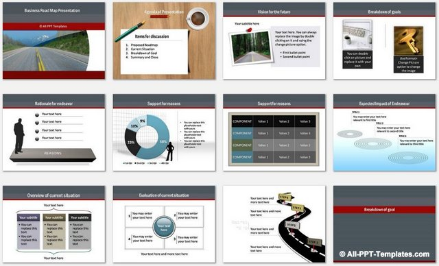 PowerPoint Business Roadmap charts 1