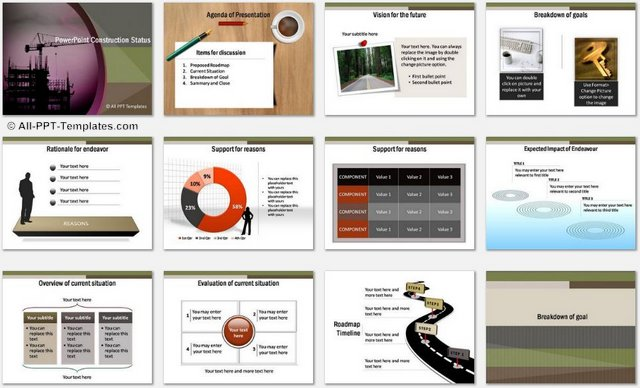 PowerPoint Construction Project Charts