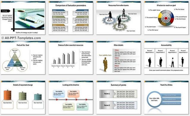 powerpoint target report template colorful, Modern powerpoint