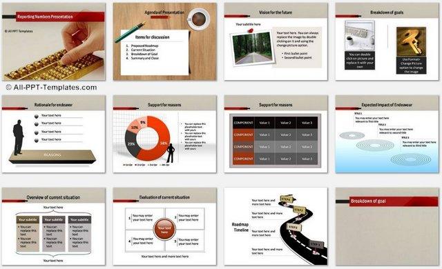 Powerpoint reporting numbers template details of slides in this set toneelgroepblik Choice Image