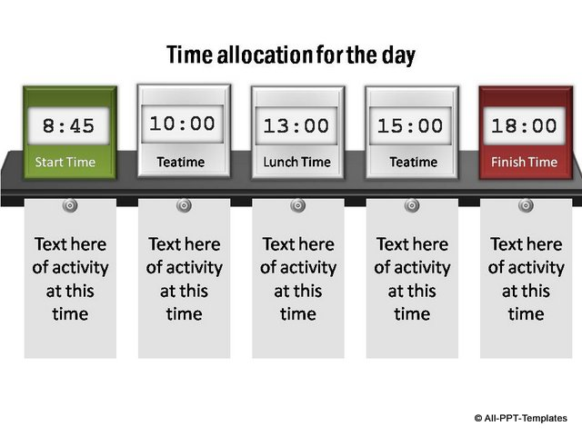 Project Timeline showing time allocation for 1 day