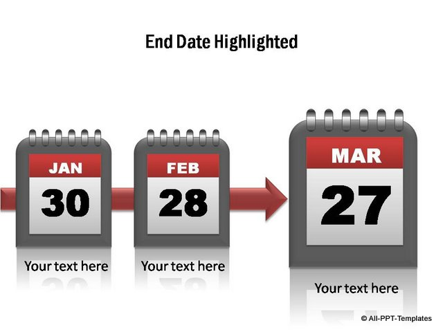 Project timeline with end date highlighted