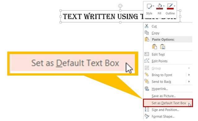 Set Default Text Box Font