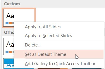 Set As Default Theme Option