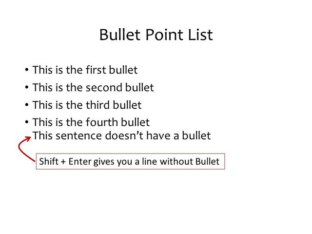 Shift Key for bullet points