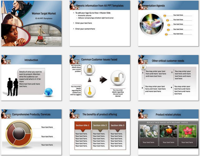 PowerPoint Women Market  Charts 01