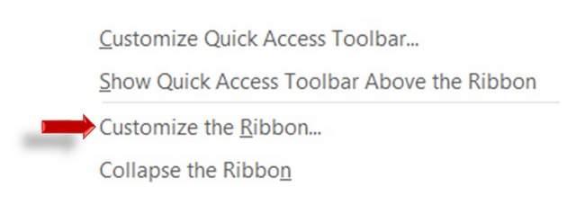 Customize the Ribbon Option