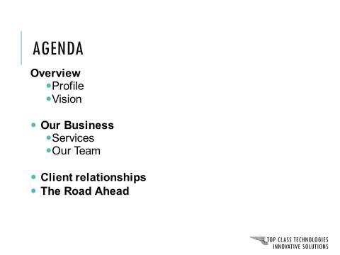 Corporate Presentation Agenda Slide : Before