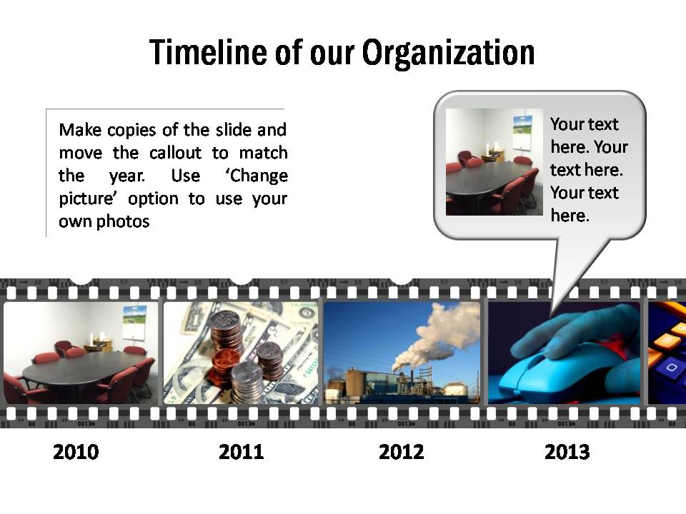 Timeline of an organization with photos displayed in movie strip and with editable callouts.