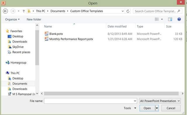 Open Custom Template in PowerPoint 2010