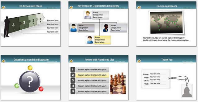 PowerPoint Blue Professional Intro Charts 3