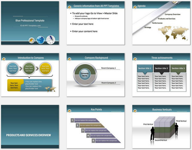 PowerPoint Blue Professional Intro Charts 1