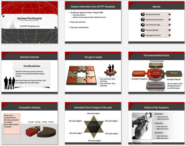 Powerpoint Business Plan Blueprint Charts 1