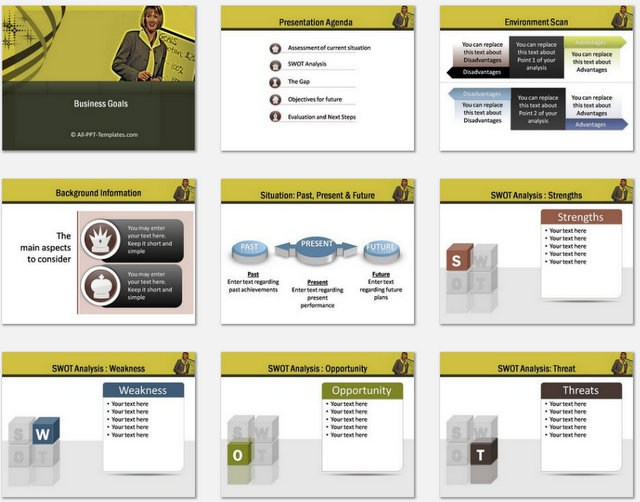 PowerPoint Business Goals Charts 01