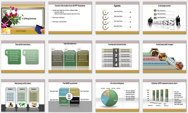PowerPoint Egifting Services Charts 1