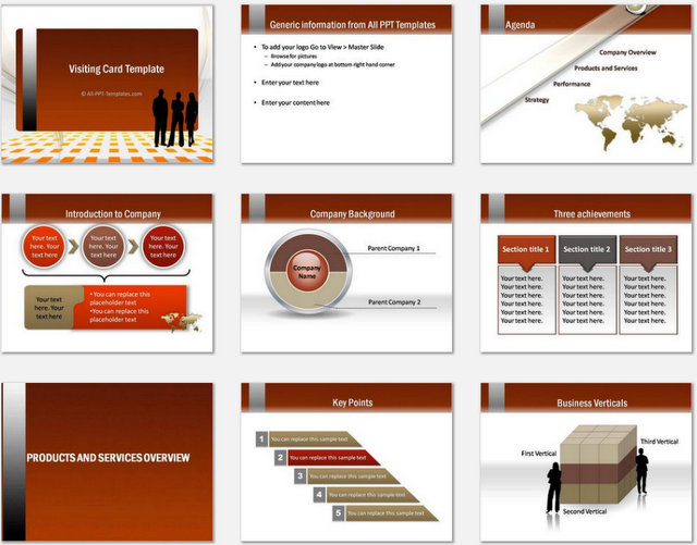 PowerPoint Visiting Card Charts 1